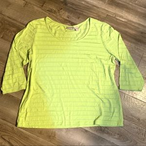 Chicos Lime Green Illusion Stripe Top 3/4 Sleeves